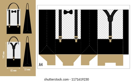 Paper packing box with suspenders and bow tie. Printable wrapping template for little man's birthday (father's day) party. Vector package favor gift.  Print, cut, fast folded. Black dots on white