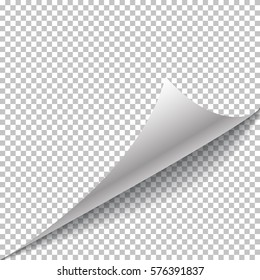 Paper page curl and shadow, isolated on transparent background