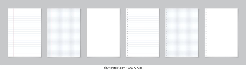 Paper page of notebook. School sheet with lines and grid. White sheets for notes. Notepad for mathematics and letter. Realistic blank notepaper with shadow isolated on gray background. Vector.