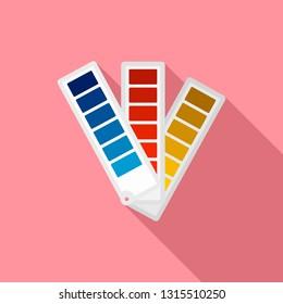 Paper pantone color chart icon. Flat illustration of paper pantone color chart vector icon for web design