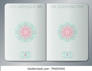 Paper passport open blank pages vector template. Passport page paper with watermark illustration