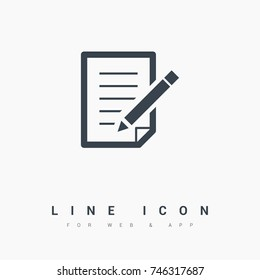 paper with pen line vector icon