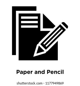 Paper and Pencil icon vector isolated on white background, logo concept of Paper and Pencil sign on transparent background, filled black symbol
