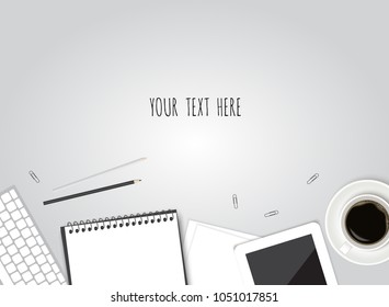 Paper, pencil, phone and coffee on the table. Top view desktop. Vector template for your design.