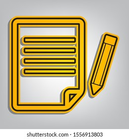 Paper and pencil sign. Flat orange icon with overlapping linear black icon with gray shadow at whitish background. Illustration.