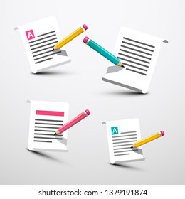 Paper with Pencil Symbols. Vector Document Icons Set.