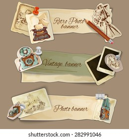 Paper photo banners set with retro photography camera and cards isolated vector illustration