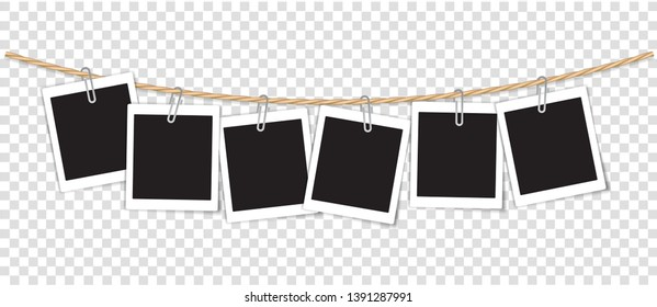 Paper Photo Frame Retro Style Hanging by Clip on Rope, Transparent Background.