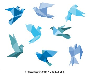Paper pigeons and doves set in origami style