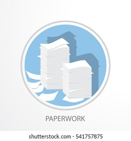 Paper pile flat illustration. Paperwork. Office routine