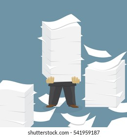 Paper pile with a man flat illustration. Paperwork. Office routine