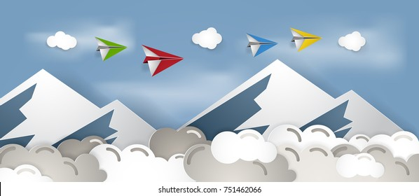 Paper plane above cloudy sky and mountain vector illustration, paper cut art and craft style