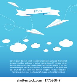 Paper plane background for your business presentation