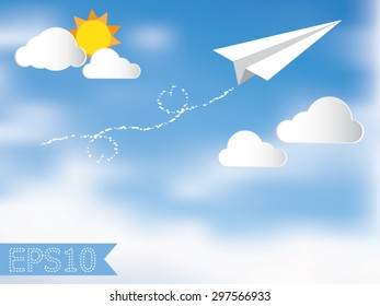 Paper plane in the blue sky white cloud and the sun. Heart shaped jets. Vector illustration.