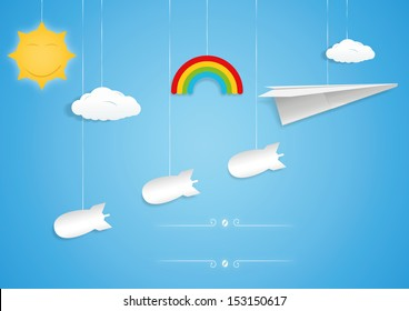 Paper plane and bombs toys. Vector illustration