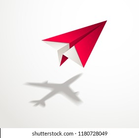 Paper plane casting shadow of jet airliner, origami folded toy plane 3d realistic vector illustration. Vision and aspiration dream concept, airlines, air travel, business vision idea, travel by air.