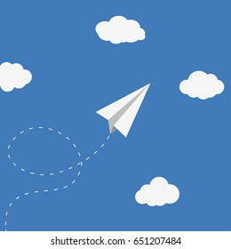 Paper plane and clouds. Origami airplane, handmade toy. Vector background.