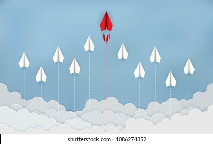 Paper plane are competing to destination. Business Financial concepts are competing for success and corporate goals. There is a high competition. start up