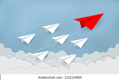 Paper plane are competition to destination up to the sky go to success goal. business financial concept. leadership. creative idea. illustration vector. start up. paper art style