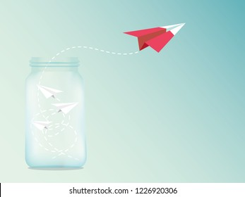 Paper plane are competition from the Glass bottles to destination up to the sky go out form Comfort Zone success goal. idea, business startup concept, leadership, creative, illustration vector.