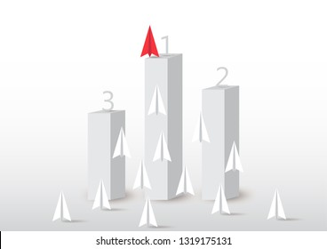 Paper plane competition with red paper plane ahead on number one podium, business competition leadership ambitious successful goal concept vector illustration