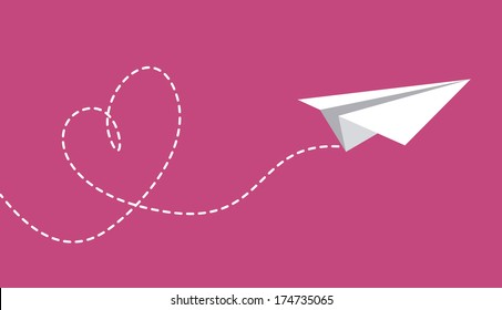 paper plane design over purple  background vector illustration