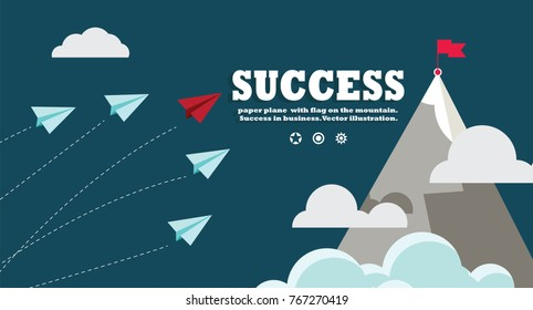 paper plane  with flag on the mountain.  Success in business. Vector illustration.