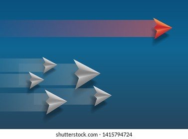Paper plane fly into a primary victory business concept images vector.