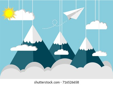 Paper plane fly on the sky top of the snow mountain. Clouds, mountains, sun and paper plane tied with rope hanging