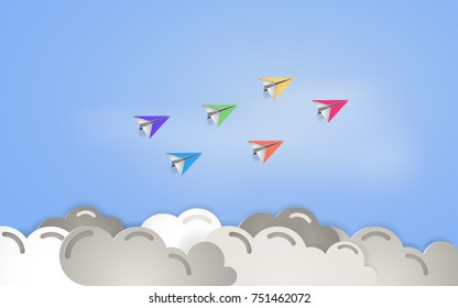 Paper plane flying above cloudy sky vector illustration, paper cut art and craft style