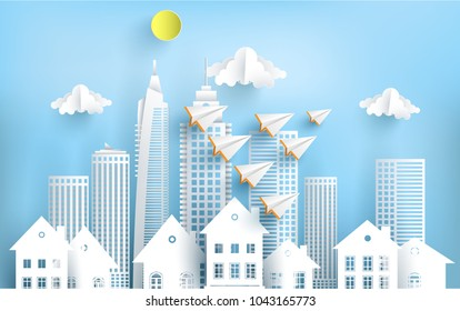 paper plane flying across town. startup business concept. design paper art and crafts