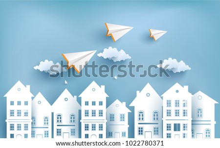paper plane flying across town design stock vector royalty free