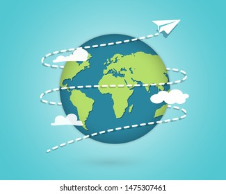 Paper Plane flying around the globe. Around the world travelling by plane, airplane trip in various country. Planet Earth. Travel and tourism concept