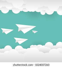 Paper plane flying with clouds and space flat design paper cut background