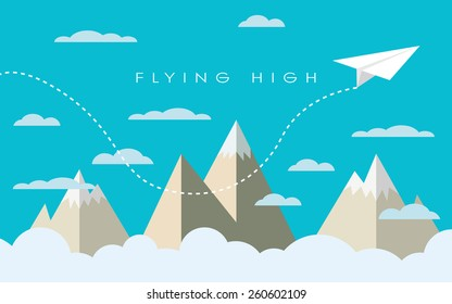 Paper plane flying over mountains between clouds. Modern polygonal shapes background, low poly. Business concept design. Eps10 vector illustration