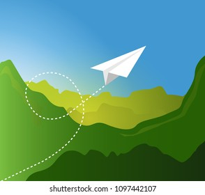 Paper plane flying pattern over  green mountain landscape. illustration design graphic