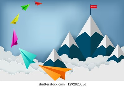 Paper plane are flying to the red flag target on mountains while flying above a cloud.  business finance success. leadership. startup. creative idea. illustration cartoon vector