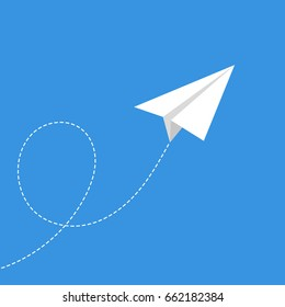 Paper plane flying. Vector. Flat.