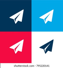 Paper plane four color material and minimal icon logo set in red and blue
