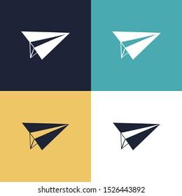 Paper Plane Four Color Minimalist Icon Logo Set in Elegant Color