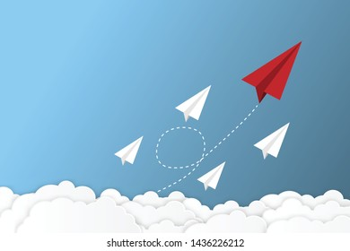Paper plane go to success goal vector business financial concept start up, leadership, creative idea symbol paper art style