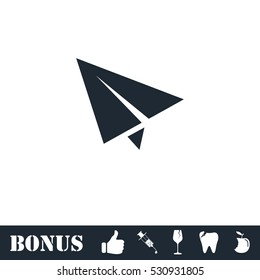 Paper plane icon flat. Vector illustration symbol and bonus pictogram