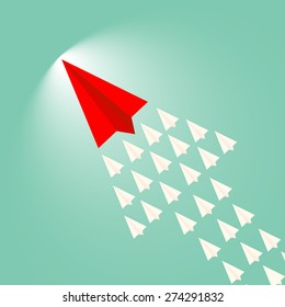 Paper plane leader concept/Leadership, teamwork and courage concept, Red paper plane with aircraft shadow for leader and white paper planes flying follow on sky. vector illustration