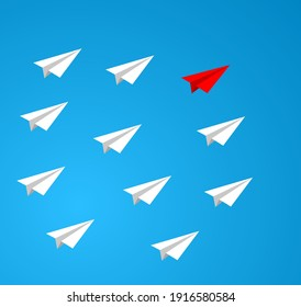 paper plane leadership teamwork icon