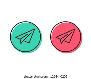 Paper plane line icon. Airplane flight transport sign. Share symbol. Positive and negative circle buttons concept. Good or bad symbols. Paper plane Vector