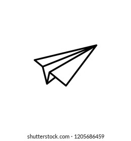 Paper plane line icon. Flat origami airplane isolated on white background. Vector illustration. Message, letter, mail symbol. Start up and launch, invention and development  sign.