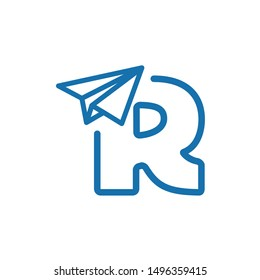 paper plane logo. letter R with paper plane vector
