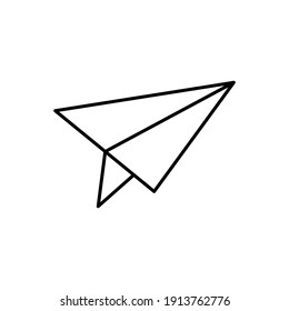 paper plane Message icon in flat black line style, isolated on white background
