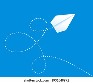 Paper plane on blue sky with the path. Travel vector concept