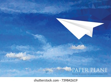 paper plane on blue sky with clouds, low poly abstract vector illustration